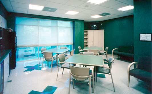 Break room with amenities